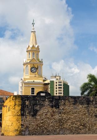 Clock Tower at The Walled City of Cartagena de Indias, Colombia Banco de Imagens