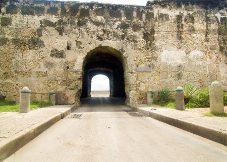 Tunnel Puerta de Santo Domingo at Cartagena de Indias, Colombia