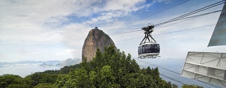Panoramic View of the Sugar Loaf Mountain Air Tram at Rio de Janeiro, Brazil Banco de Imagens