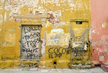 Abandoned Houses Facades at Cartagena de Indias, Colombia