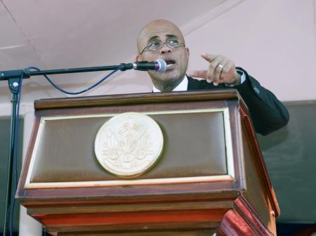 CAP-HAITIEN, HAITI - NOV 18,  President of Haiti Michel Martelly  speech on the public Nazareth Plaza for the anniversary of the War for Haitian Independence on November 18, 2013 in Cap-Haitien, Haiti Editorial