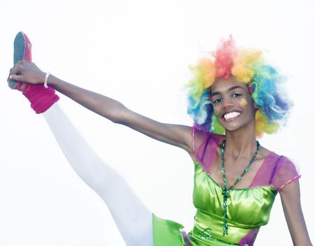 Cheerful Female Clown Gymnastics
