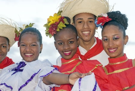 SANTO DOMINGO, DOMINICAN REPUBLIC - NOV 23  Unidentified folkloric dancers ready to perform in the public Colonial Festival on November 23, 2013 in Sto Domingo, Dominican Republic   Editorial