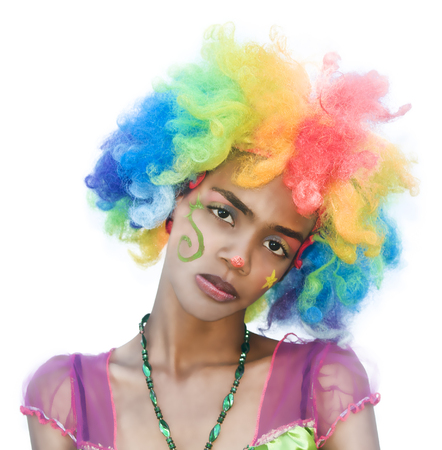 Cheerful Female Clown with Spoiled Expression Banco de Imagens