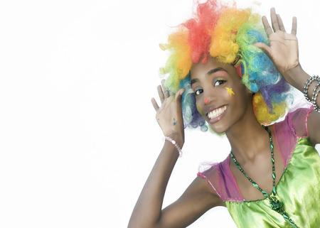 Happy Female Clown Peeking with Blank Space on Left Side Banco de Imagens