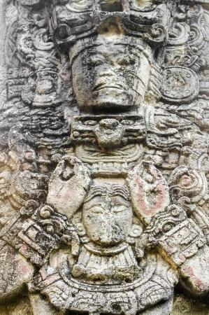 colonisation: Statua Maya di Copan, Honduras Archivio Fotografico