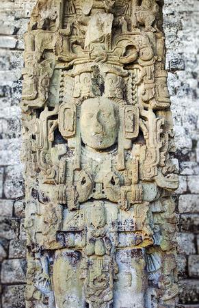 Ancient Maya Statue at Copan, Honduras Banco de Imagens