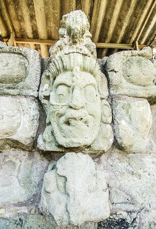 colonization: Ancient Maya Statue at Copan, Honduras Stock Photo