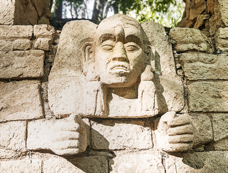 Carved Mayan God at Copan, Honduras Banco de Imagens