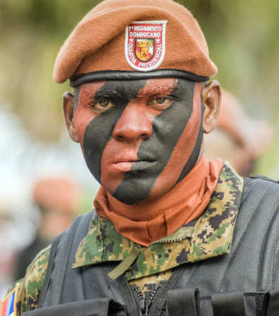 SANTO DOMINGO, DOMINICAN REPUBLIC - FEBRUARY 27  Member of the presidential guard in full uniform for the Independence Military Parade on February 27, 2014 in Santo Domingo, Dominican Republic