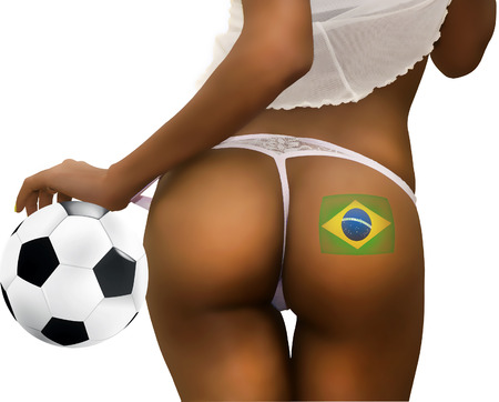 Back of Woman with a Soccer Ball