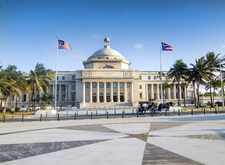 SAN JUAN, PUERTO RICO - APRIL 7 Horse Carriage standing in front of The Puerto Rico Capitol Government Building located near the Old San Juan historic area on  April 7, 2014 in San Juan, Puerto Rico  Banco de Imagens - 27310802