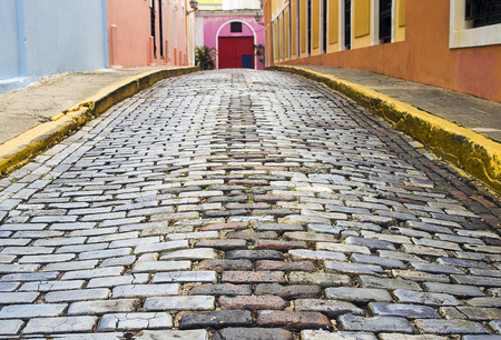 cobblestone street: Cobblestone Street at Old San Juan, Puerto Rico