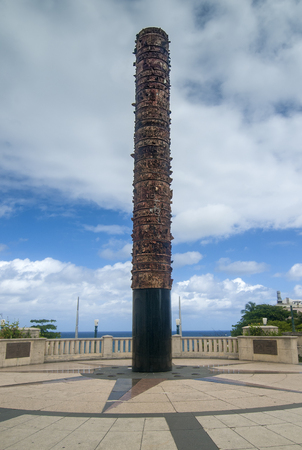 SAN JUAN, PUERTO RICO - The Iconic Totem Monument at Quincentennial Plaza in Historic Old San Juan on April 5, 2014 in San Juan, Puerto Rico