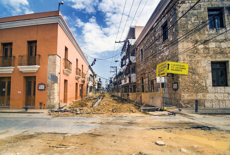 colonial: Reconstruction works of the Colonial Zone in Sto Domingo, Dominican Republic Stock Photo