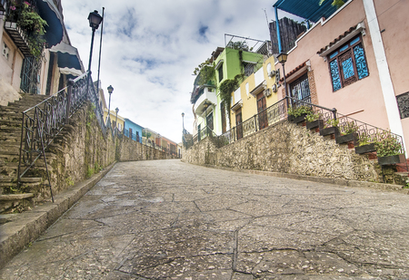 santo: Historic Street at Colonial Zone, Sto Domingo, Dominican Republic Stock Photo