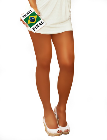 futbol soccer: Woman in Short Dress Holding a Brazil Ticket