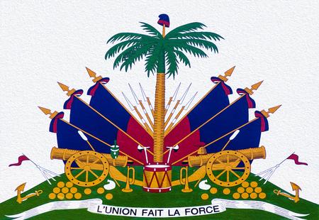 haiti: Hailti Coat of Arms on a White Wall