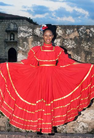 SANTO DOMINGO, DOMINICAN REPUBLIC - NOV 23 Unidentified folkloric dancer ready to perform in the public Colonial Festival on November 23, 2013 in Sto. Domingo, Dominican Republic