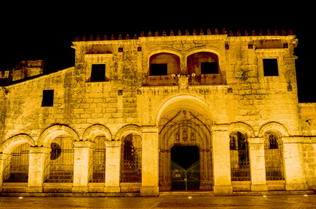 Night View of the Ancient Cathedral of Santa Maria la Menor in the Colonial Zone of Santo Domingo, Dominican Republic. Banco de Imagens