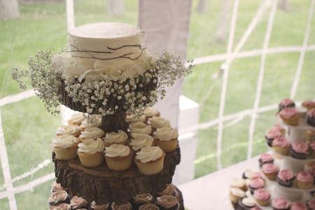 rustic: Rustic Wedding Dessert Table Stock Photo