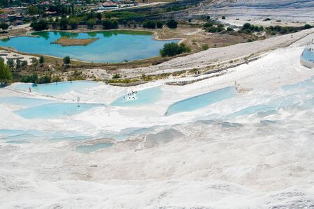calcareous: Original site in turkey done by hard water springs that create natural limestone basins full of water