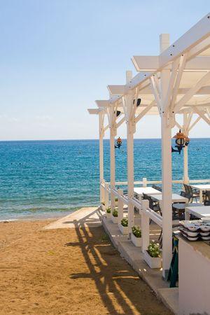 seacoast: Restaurant at seacoast with luxury landscape Stock Photo