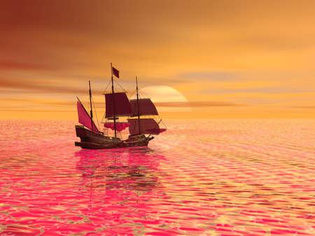 Sailing into Sunset Stock fotó