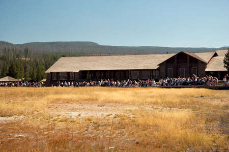 the faithful: Crowd waiting for Old Faithful to Erupt