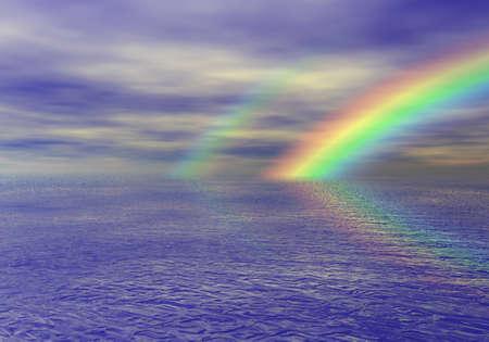 海での虹 写真素材