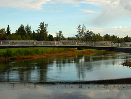 Alaskan bridge over river Stock Photo - 1806204