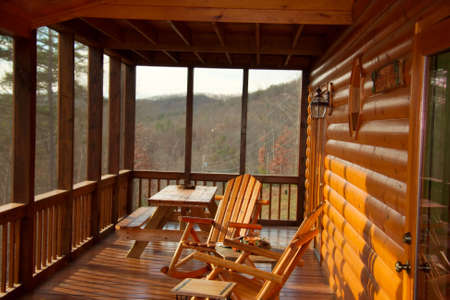 log cabin: cabin porch Stock Photo