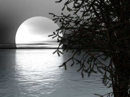 Moon over Sea Stok Fotoğraf