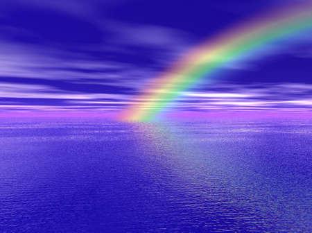 海の上の虹 写真素材