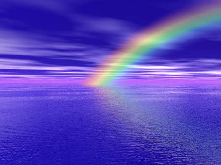rainbow background: Rainbow over the Sea Stock Photo