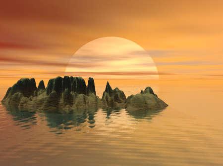 Island Sunset at Sea
