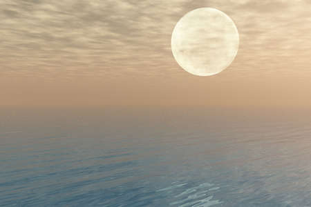 Moon over the Sea Stock Photo - 3684907