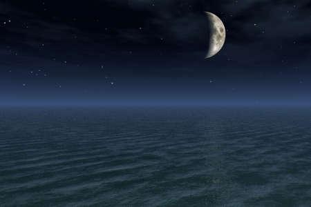 nightime: Half Moon Night Stock Photo