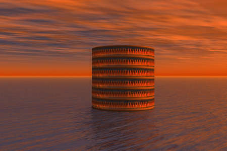Cylinder and Sea Stock Photo