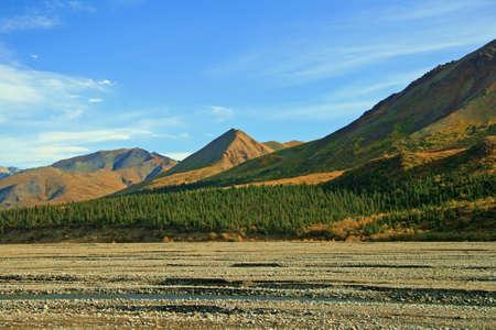 Glacier bed flowing through the basin in Alaska. Stock Photo - 4157156