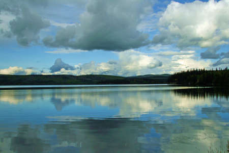 Peaceful lake in the wilderness of rural Alaska. photo