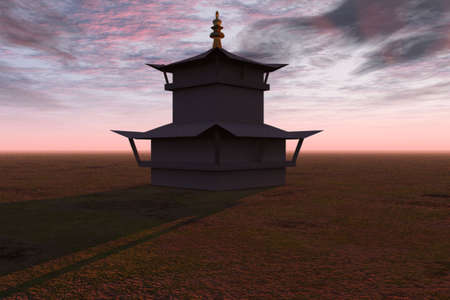 Illustration of a temple isolated against a sunset.