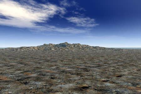 barren land: Illustration of a rocky landscape against a bright sky. Stock Photo