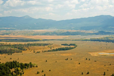 Scenic landscape of Yellowstone Park in early September.