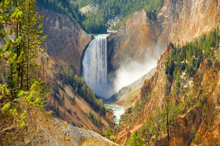 Yellowstone Falls in the middle of the famous destination. Stock Photo