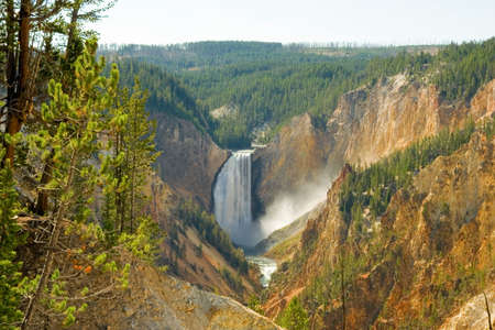 Yellowstone Falls in the middle of the famous destination. photo