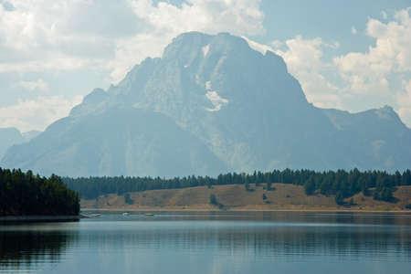 Beautiful scene of Yellowstone Lake and surrounding landscape. photo