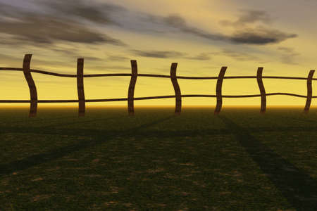 Illustration of an old fence against a sunset. illustration