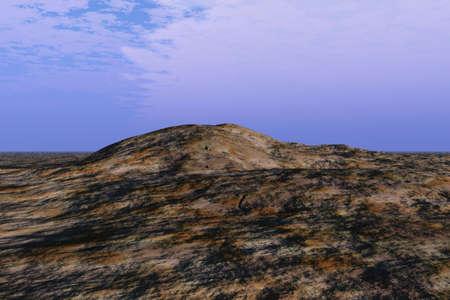 Illustration of a rocky landscape rural area Banco de Imagens