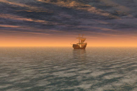 Illustration of a beautiful sunset over a ship at sea illustration